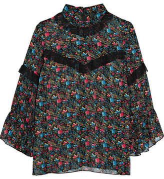 Anna Sui Woman Ruffled Printed Silk-chiffon Top Black Size L Anna Sui Outlet Clearance Store nl4W9DF1h