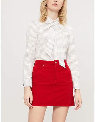 Claudie Pierlot Caramel pussy-bow cotton shirt