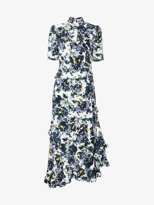 Erdem Silk floral dress with twist detail