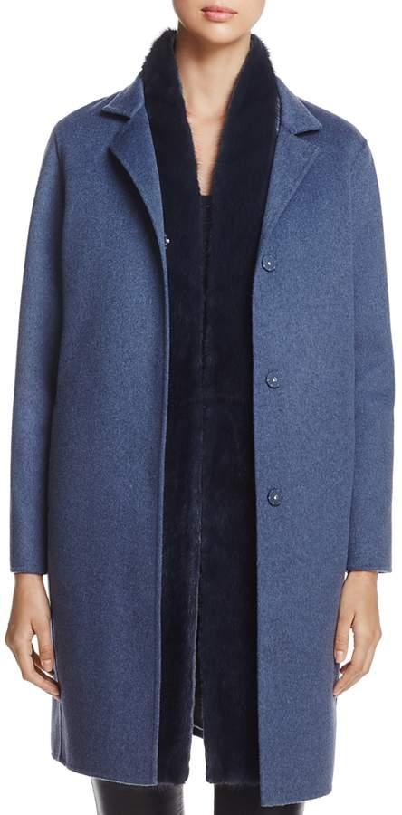 Wool & Cashmere Coat with Detachable Mink Fur Vest