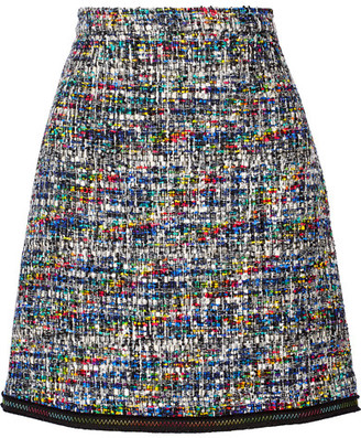 Boutique Moschino - Grosgrain-trimmed Bouclé-tweed Mini Skirt - Black $450 thestylecure.com