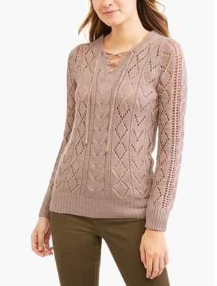 Allison Brittney Women's Lightweight Lace-Up V-neck Pointelle Sweater