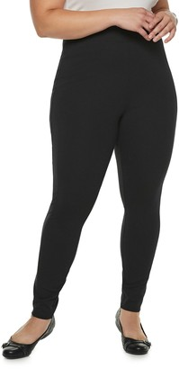 Utopia By Hue Plus Size Utopia by HUE Blackout Seamed Leggings