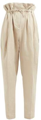 Acne Studios Paperbag Waist Linen Trousers - Womens - Beige