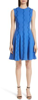 Lela Rose Wave Lace Trim Dress