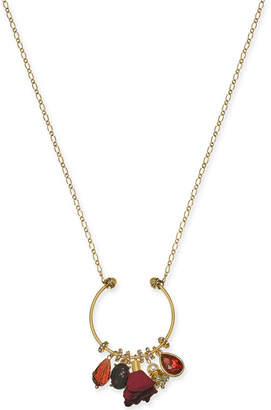 "INC International Concepts I.n.c. Gold-Tone Multi-Charm Pendant Necklace, 28"" + 3"" extender"