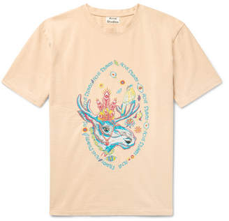 Acne Studios Bemabe Rave Moose Embroidered Cotton-Jersey T-Shirt - Orange