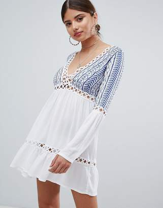 Missguided Embroidered Cheesecloth Swing Dress