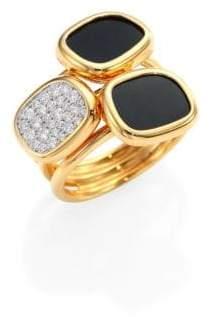 Roberto Coin Black Jade& Diamond Three Stone Ring