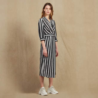 Sandro Midi Dress With Contrasting Stripes