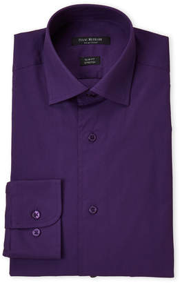 Isaac Mizrahi Eggplant Stretch Slim Fit Dress Shirt