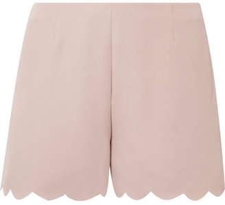 Valentino Scalloped Silk-crepe Shorts - Antique rose