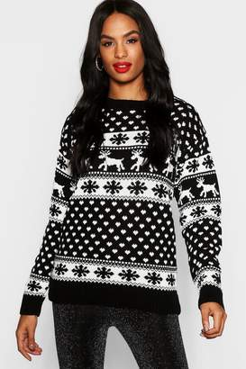 boohoo Tall Reindeers Christmas Jumper