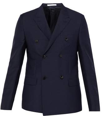 Valentino Rockstud Double Breasted Mohair Blend Blazer - Mens - Navy