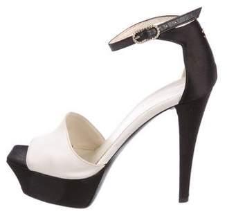 Chanel CC Patent Platform Sandals