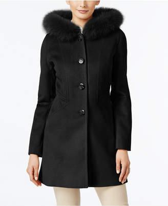 Forecaster Fox-Fur-Trim Hooded Walker Coat