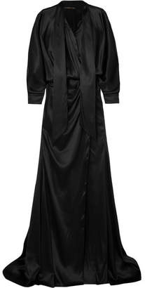 Alexandre Vauthier Pussy-bow Stretch-silk Satin Gown - Black