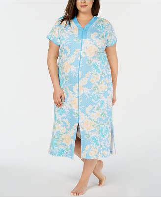 58a9e3835a74e6 Miss Elaine Plus-Size Flower-Print Interlock Knit Zip-Up Robe