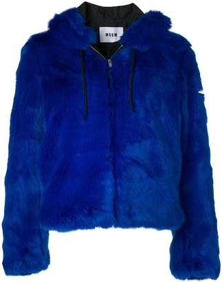 MSGM faux fur hooded jacket