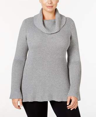 Style&Co. Style & Co. Womens Plus Ribbed Trim Bell Sleeve Pullover Sweater Gray