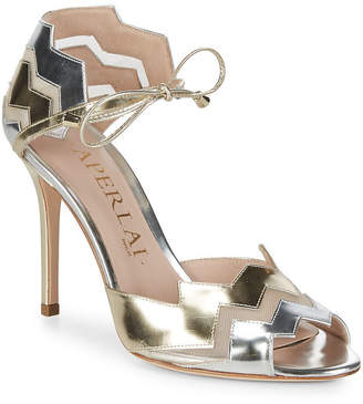Aperlaï Two-Tone Metallic Zigzag Heel