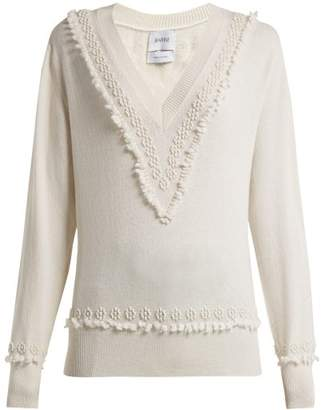 Barrie - Romantic Timeless V Neck Cashmere Sweater - Womens - Ivory