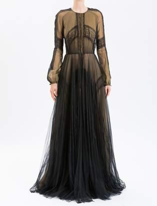J. Mendel Black Long Sleeve Organza Gown