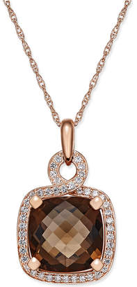 Macy's Smoky Quartz (6-1/6 ct. t.w.) and Diamond (1/3 ct. t.w.) Pendant Necklace in 14k Rose Gold