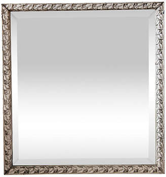 One Kings Lane Vintage Beveled Mirror with Aged White Leaf Frame - Fleur de Lex Antiques