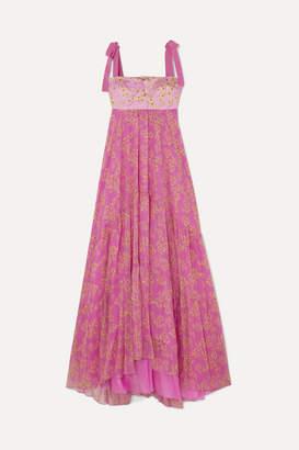 Silvia Tcherassi Dancing Tiered Floral-print Silk-blend Maxi Dress - Pink