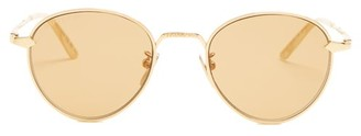 Gucci Round Frame Metal Sunglasses - Mens - Gold