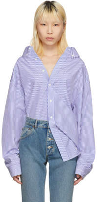 Balenciaga Blue and White Striped Swing Shirt