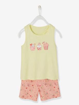 Vertbaudet Dual Fabric Short Pyjamas for Girls, Cupcakes