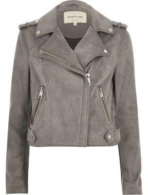River Island Womens Light grey faux suede scuba biker jacket