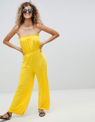 Asos Design DESIGN bandeau jersey jumpsuit with wide leg