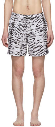 Amiri Black and White Tiger Swim Shorts