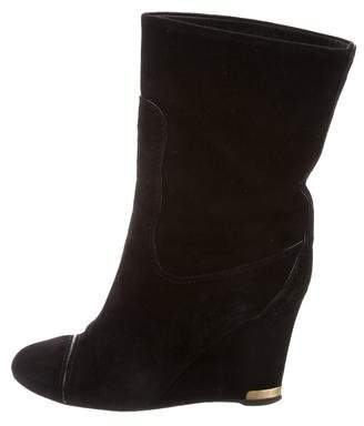 Louis Vuitton Suede Wedge Ankle Boots
