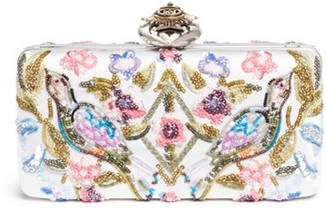 Alexander McQueen Alexander McQueen Jewelled heart locket Caravan embellished satin box clutch