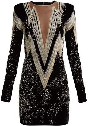 Balmain Crystal and bead-embroidered velvet mini dress