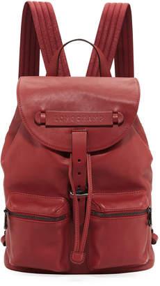 0aaf0c89fb39 Longchamp 3D Leather Drawstring Flap-Top Backpack