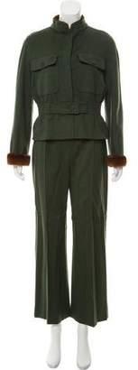 Valentino Fur-Trimmed Wool Pantsuit