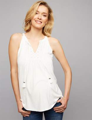 Daniel Rainn Eyelet Trim Maternity Tank Top