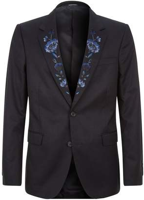 Alexander McQueen Floral Lapel Single-Breast Jacket