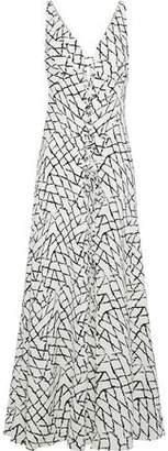 Derek Lam Lace-Up Printed Silk Midi Dress