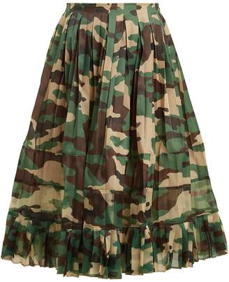 Junya Watanabe High-rise camouflage-print pleated skirt