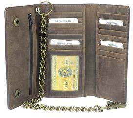 Montauk Leather Club Men's RFID Signal Blocking Tri-Fold Trucker's Wallet in Distressed Brown Genuine Leather with Antique Brass Color Chain