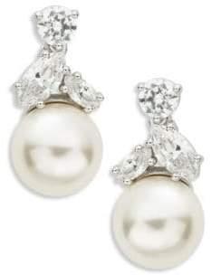 Nadri Faux Pearl Cluster Drop Earrings
