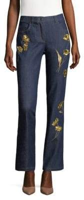 Escada Floral Embroidered Denim Jeans
