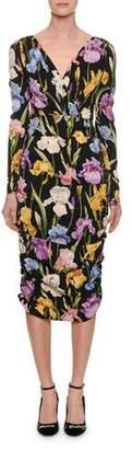 Dolce & Gabbana Long-Sleeve V-Neck Ruched Iris-Print Tea-Length Daytime Dress