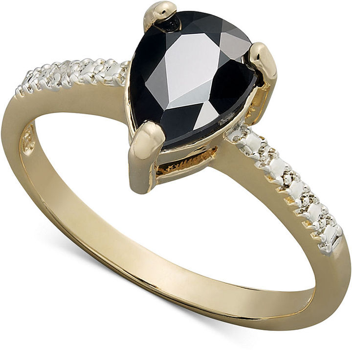 Townsend Victoria 18k Gold over Sterling Silver Ring, Sapphire (1 ct. t.w.) and Diamond Accent Pear Cut Ring